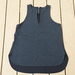 Banana Republic Grey & Black Mesh Zipper Tank Top